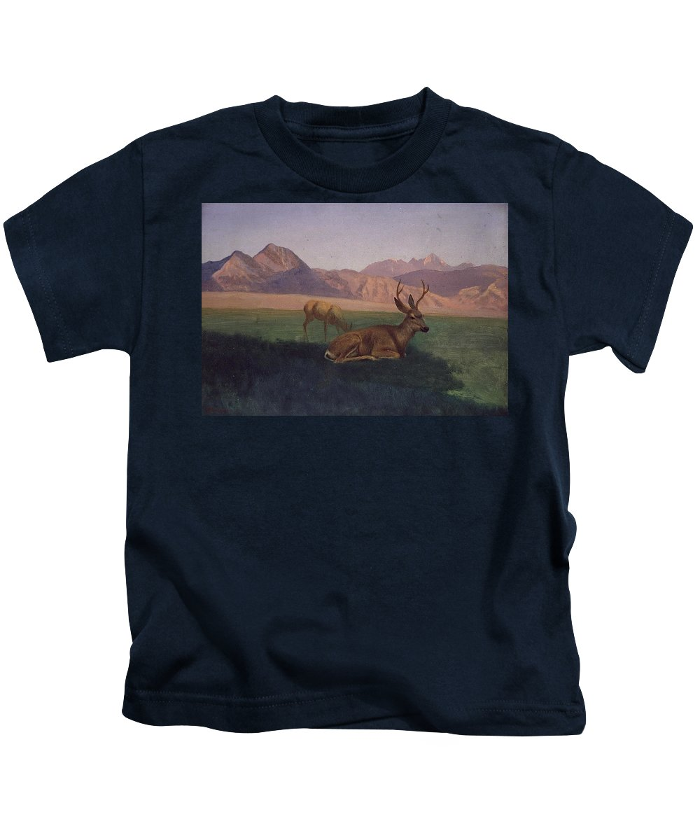 Albert Bierstadt Kids T-Shirt featuring the painting Deer by Albert Bierstadt