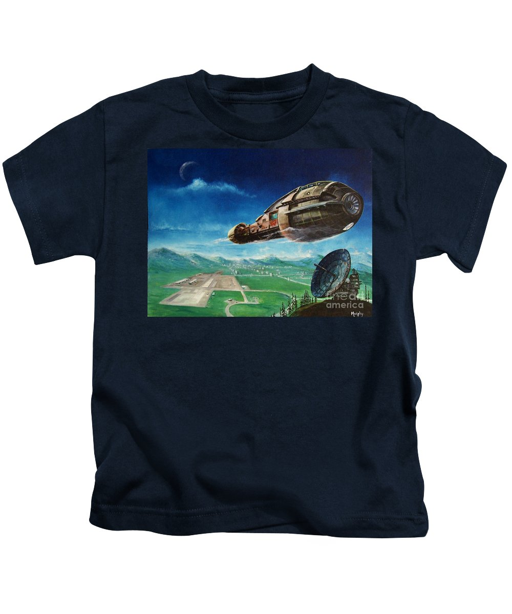 Landscape Kids T-Shirt featuring the painting Did you call by Murphy Elliott