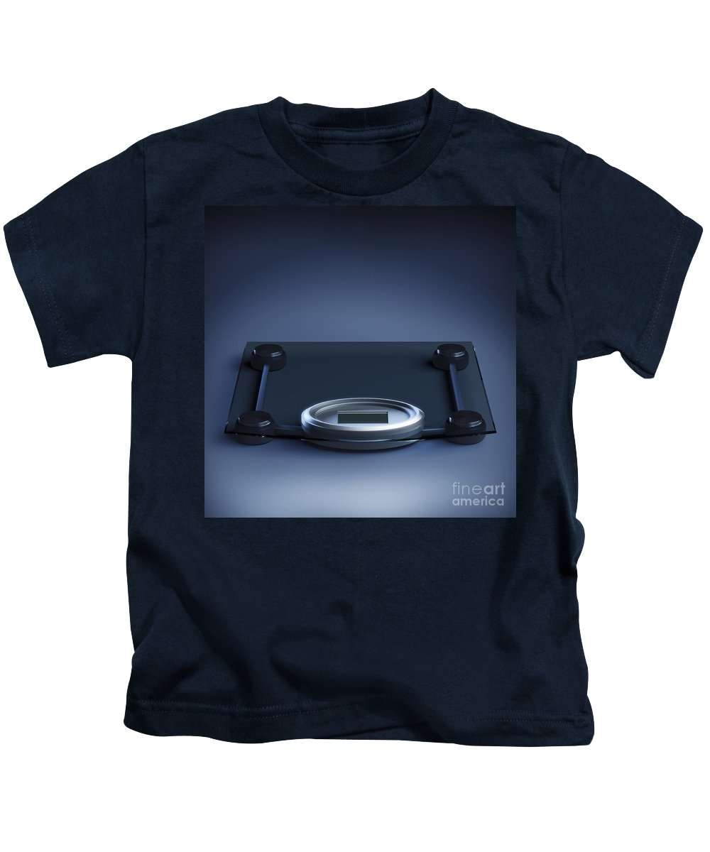 Blue Background Kids T-Shirt featuring the photograph Digital Weighing Scales by Science Picture Co