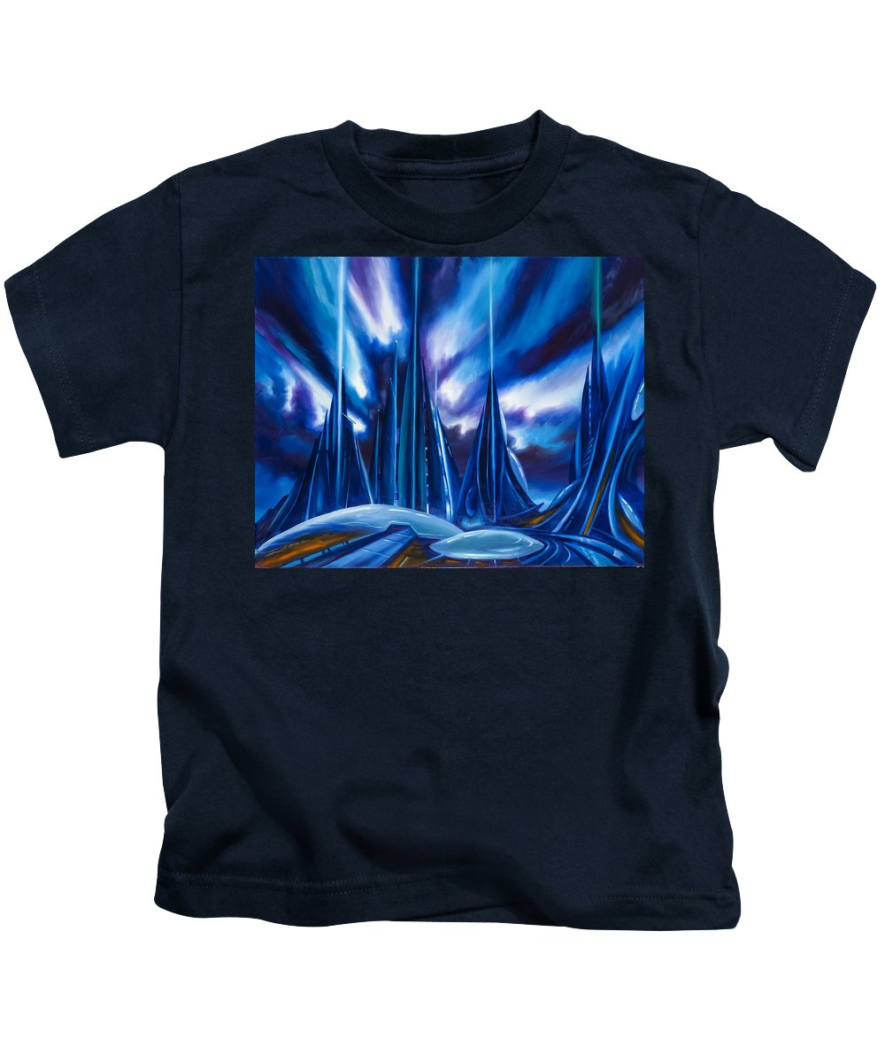 James Christopher Hill Kids T-Shirt featuring the painting Domed City by James Christopher Hill