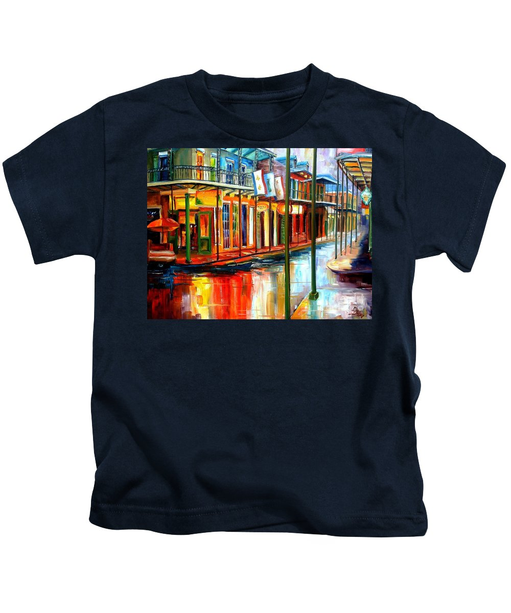 New Orleans Kids T-Shirt featuring the painting Downpour On Bourbon Street by Diane Millsap
