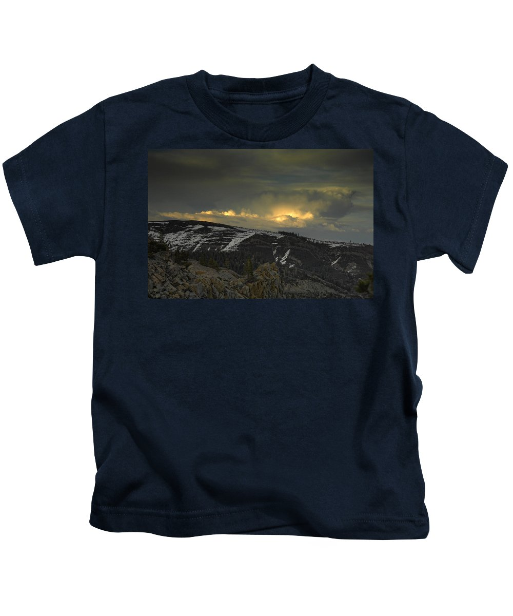 Mountains Kids T-Shirt featuring the photograph Drama Is Coming by Donna Blackhall