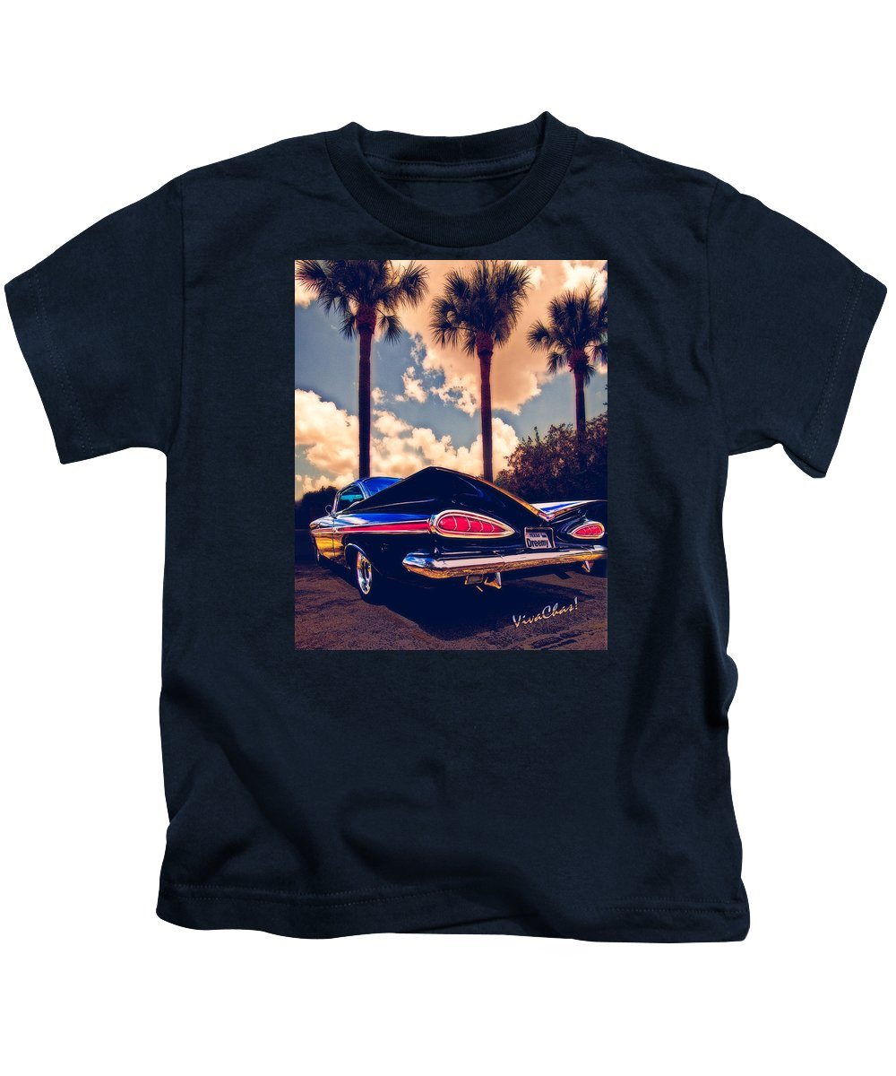 Hot Rod Art Kids T-Shirt featuring the photograph Dreemy 59 Impala - How Do U Live W/o It? by Chas Sinklier
