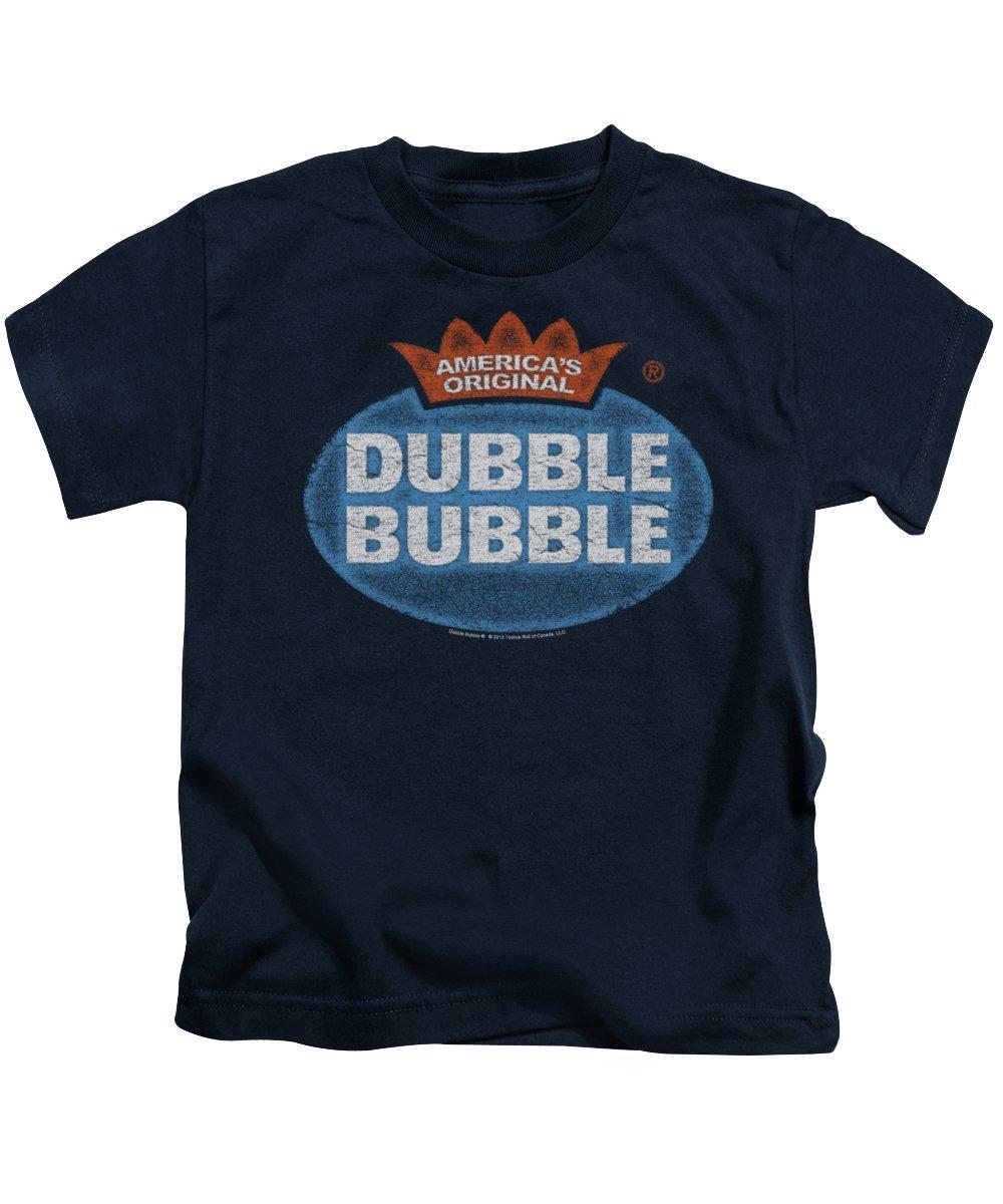 Dubble Bubble Kids T-Shirt featuring the digital art Dubble Bubble - Vintage Logo by Brand A