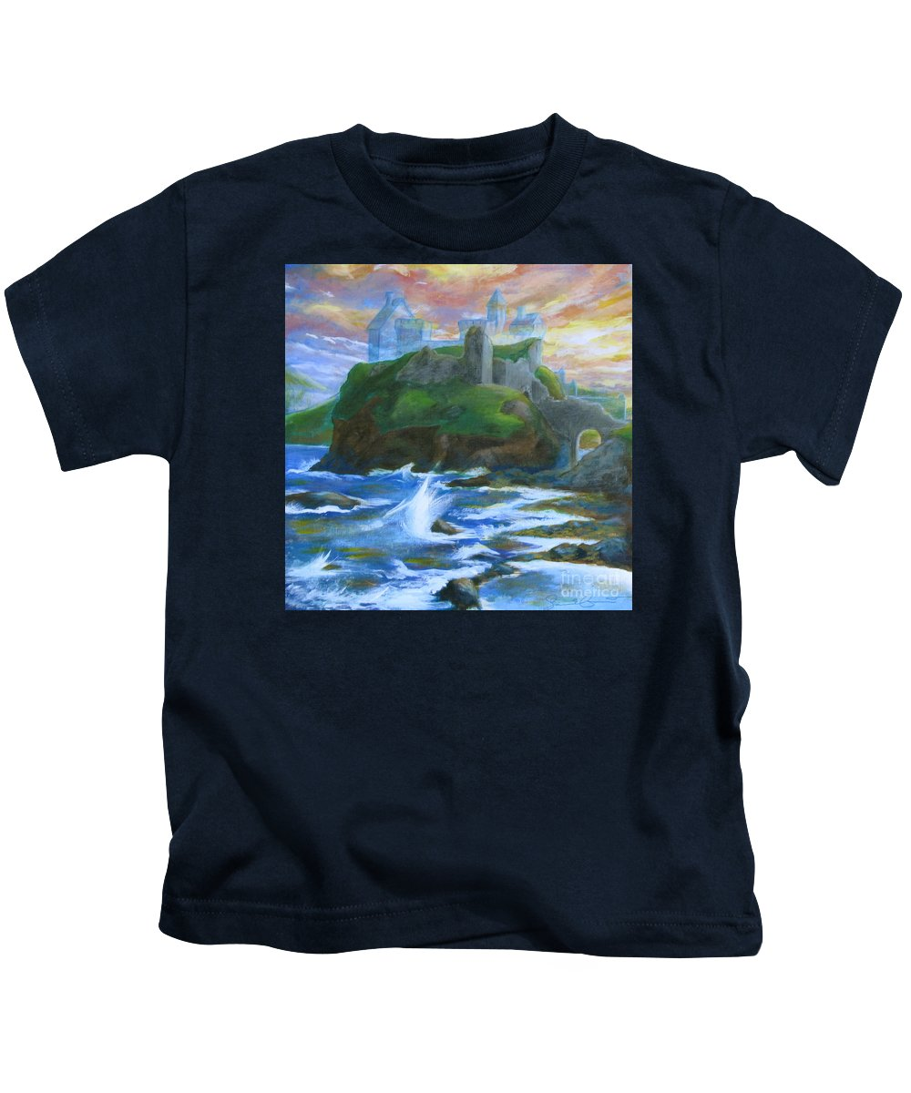 Dunscaith Kids T-Shirt featuring the painting Dunscaith Castle - Shadows Of The Past by Samantha Geernaert