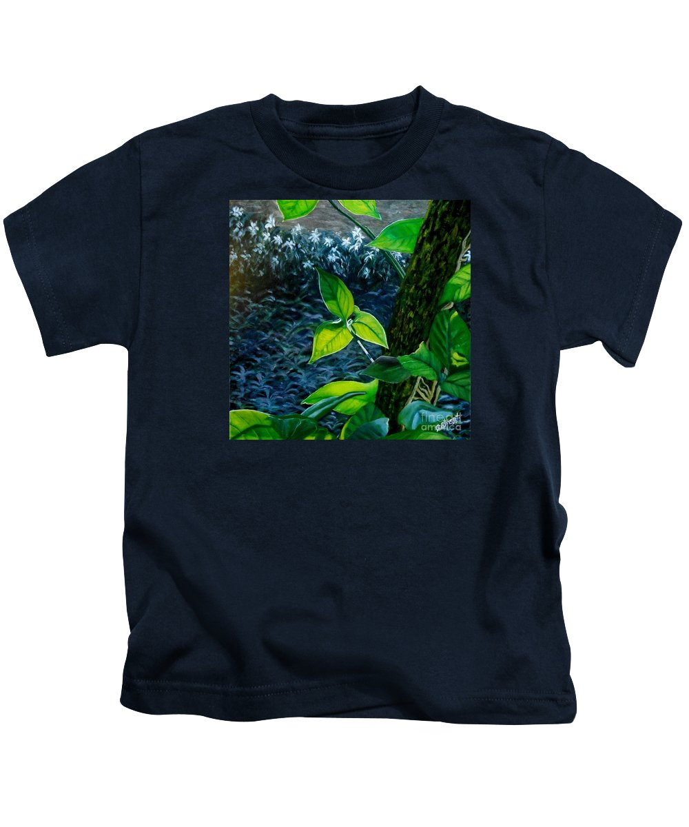 Gardens Kids T-Shirt featuring the painting Early Morning Light by Caroline Street