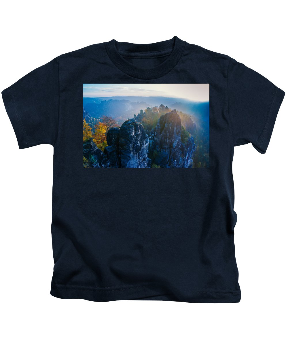 Germany Kids T-Shirt featuring the photograph Early Morning Mist At The Bastei In The Saxon Switzerland by Sun Travels