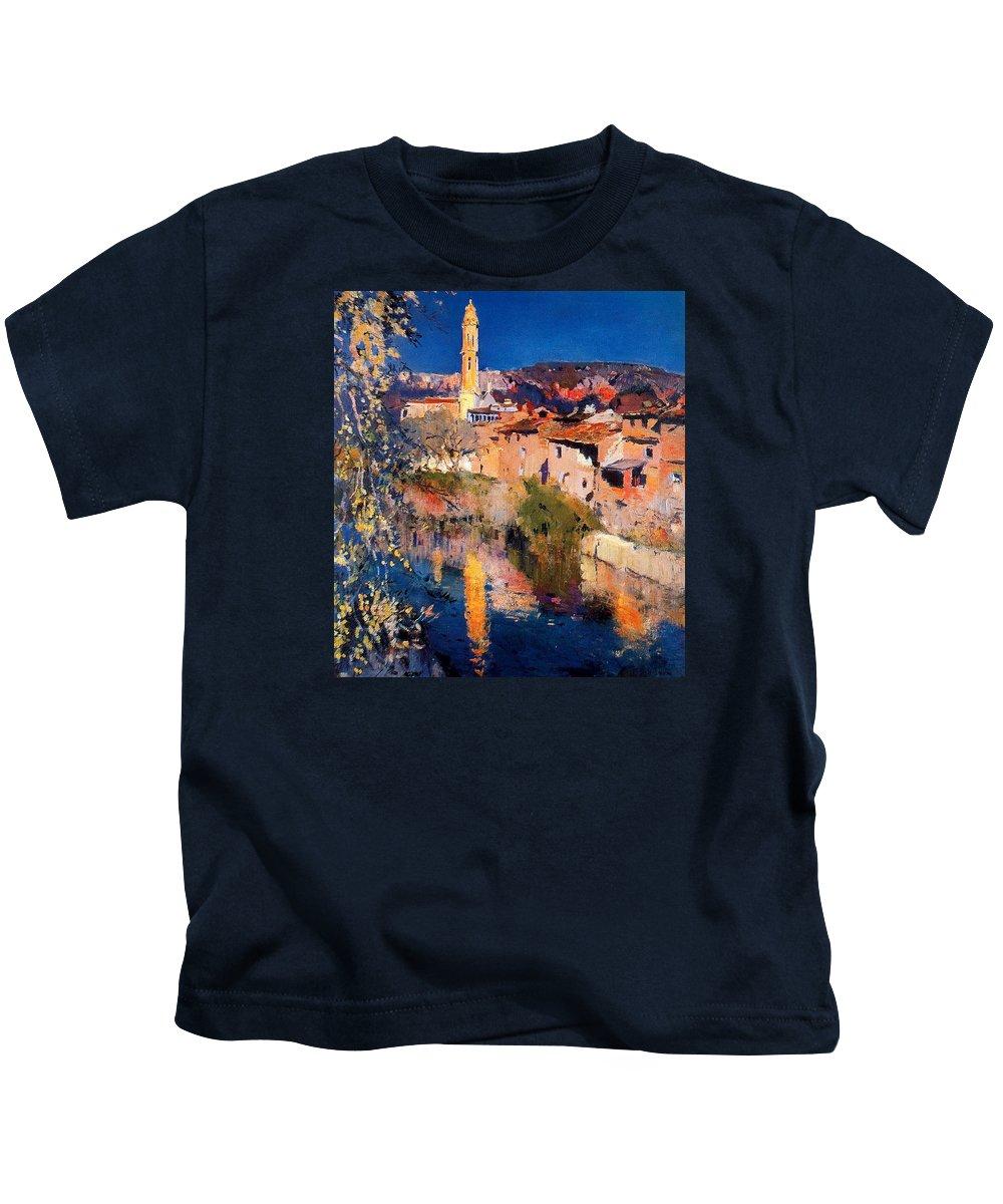 Joaquin Kids T-Shirt featuring the painting El Espejo De La Iglesia by Joaquin Mir