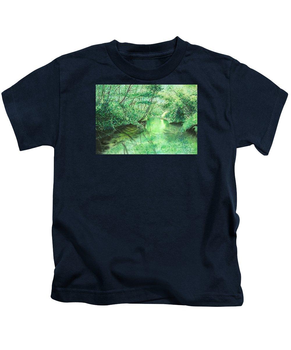 Landscape Kids T-Shirt featuring the painting Emerald Stream by Lynn Quinn