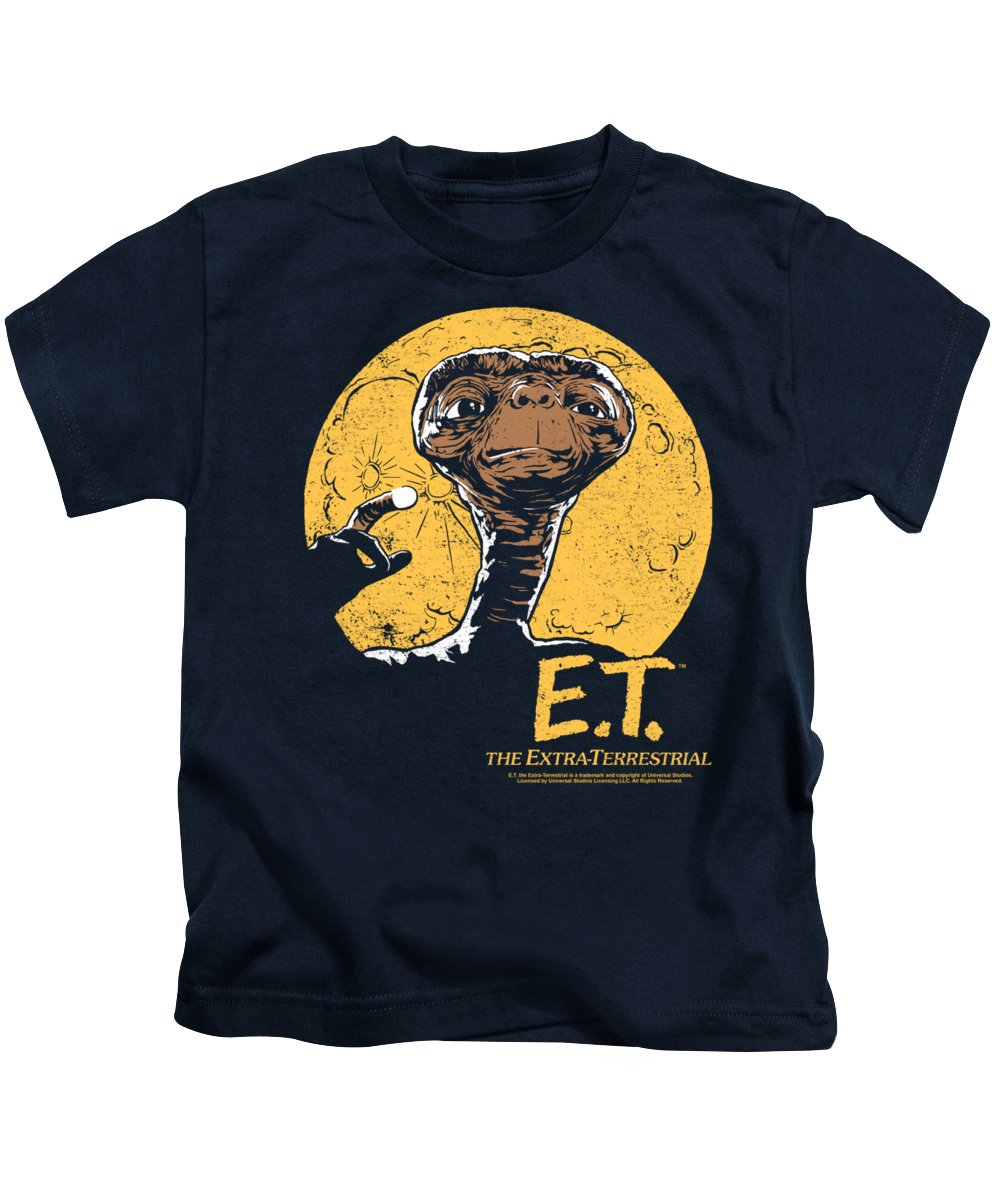 Kids T-Shirt featuring the digital art Et - Moon Frame by Brand A