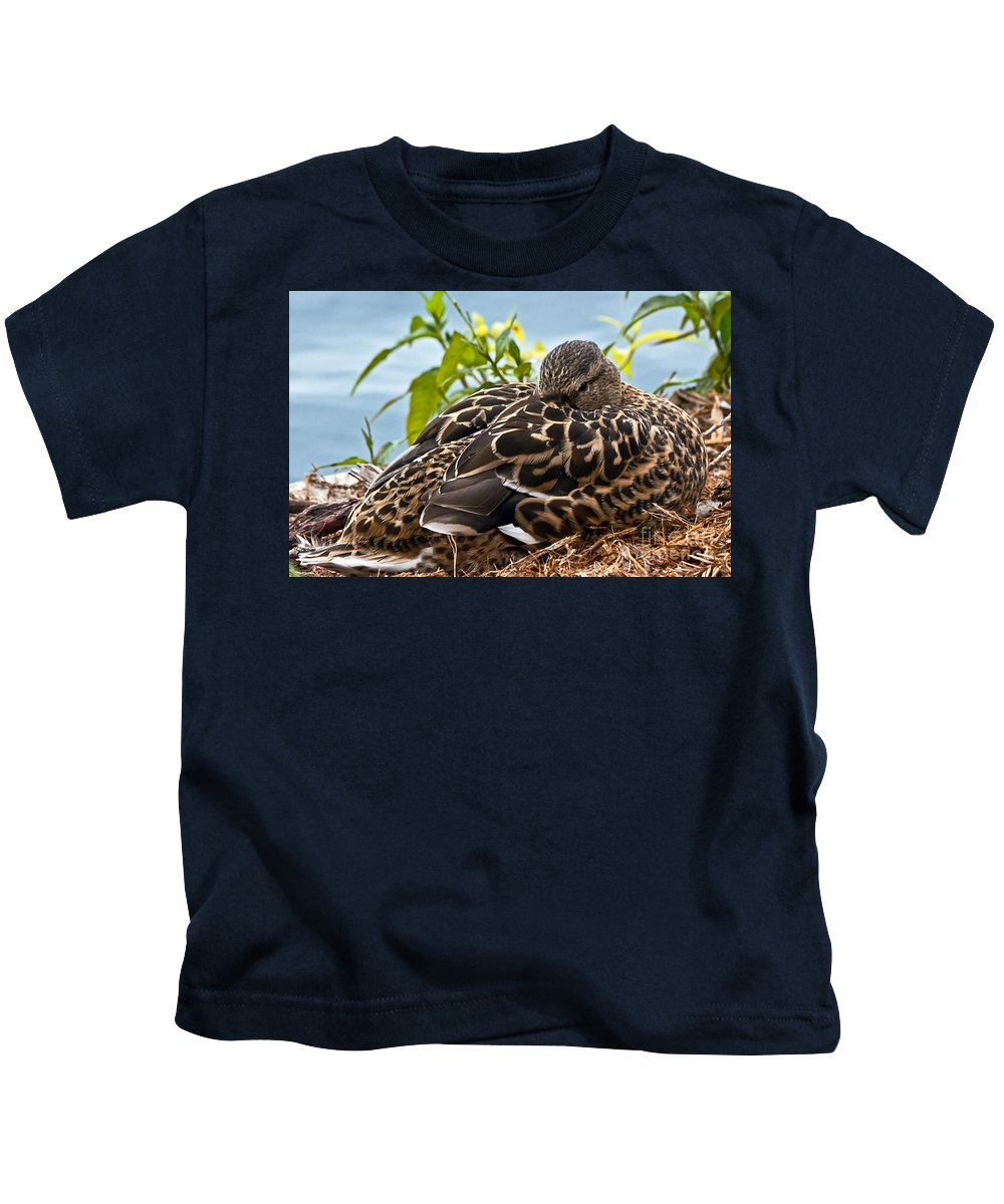 Anas Platyrhynchos Kids T-Shirt featuring the photograph Eye Watching You by Kate Brown