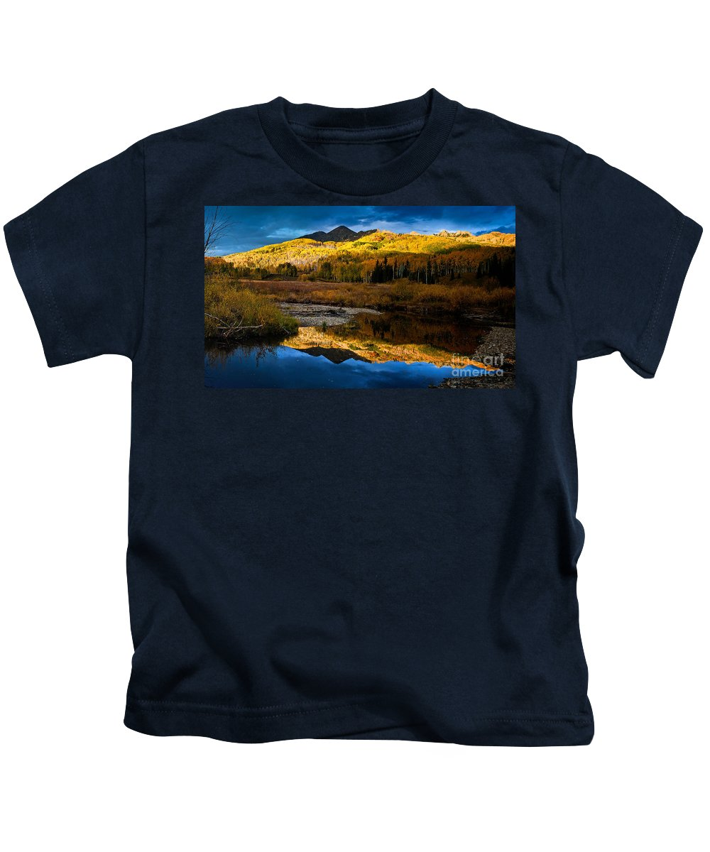 Nature Kids T-Shirt featuring the photograph Fall Sunset by Steven Reed