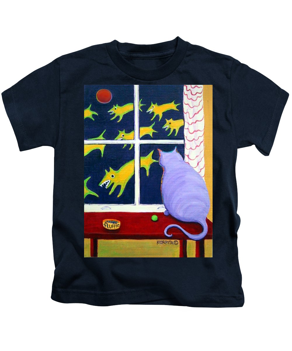Rebecca Korpita Kids T-Shirt featuring the painting Fat Inside Cat - Why Fluffie Can Not Possibly Go Out by Rebecca Korpita