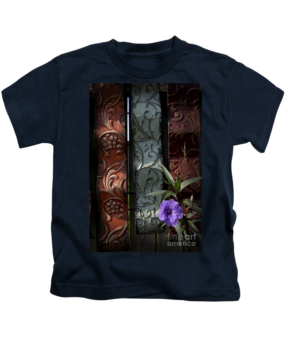 Wildflowers Kids T-Shirt featuring the photograph Fence Petunia by Roy Thoman