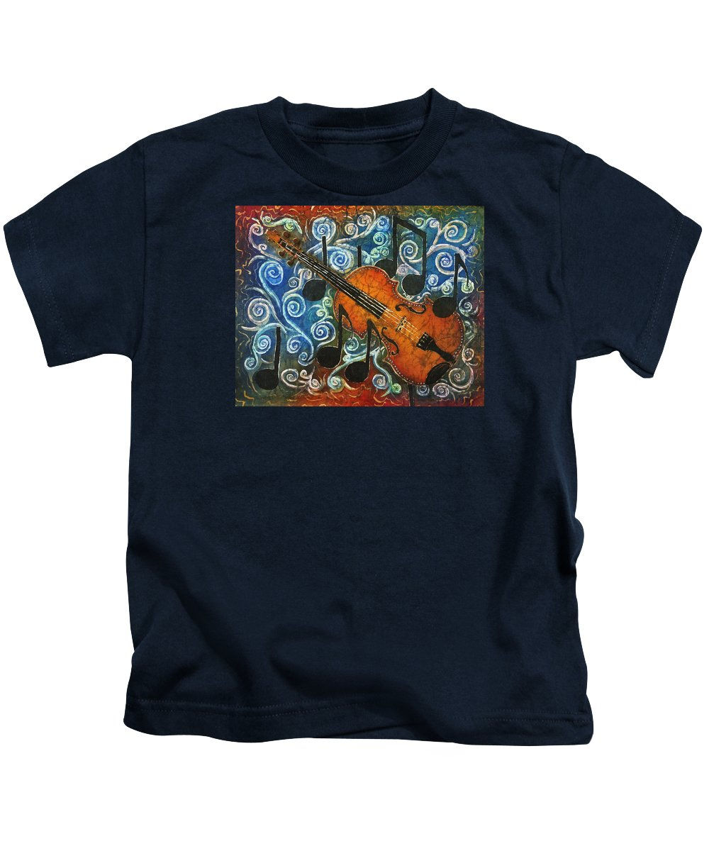 Fiddle Kids T-Shirt featuring the painting Fiddle 1 by Sue Duda