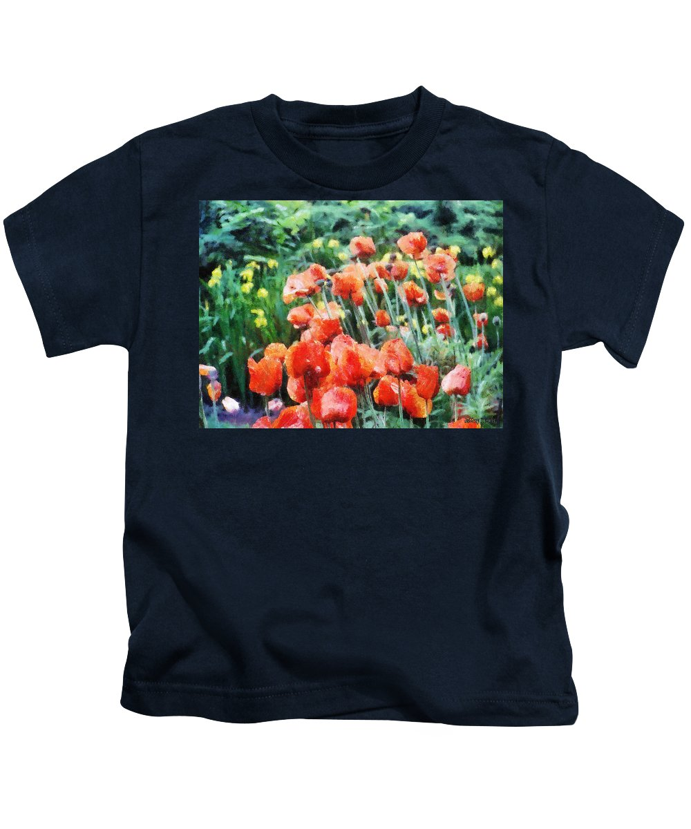 Canadian Kids T-Shirt featuring the painting Field of Flowers by Jeffrey Kolker