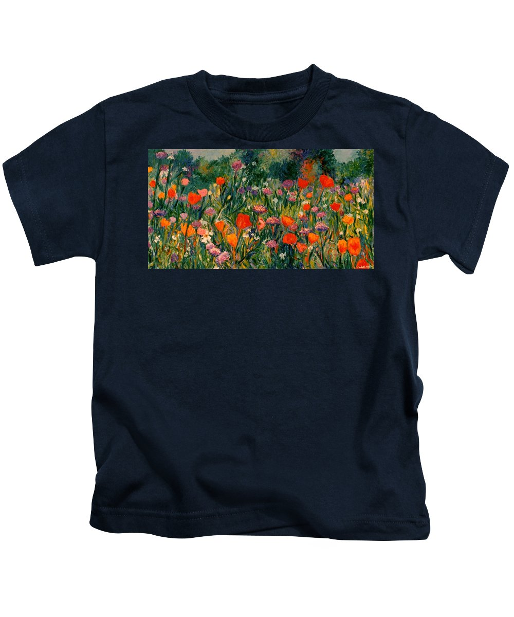 Flowers Kids T-Shirt featuring the painting Field Of Flowers by Kendall Kessler