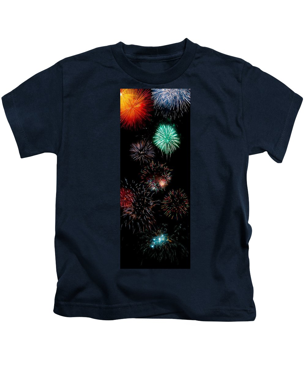 Fireworks Kids T-Shirt featuring the photograph Colorful Explosions No2 by Weston Westmoreland