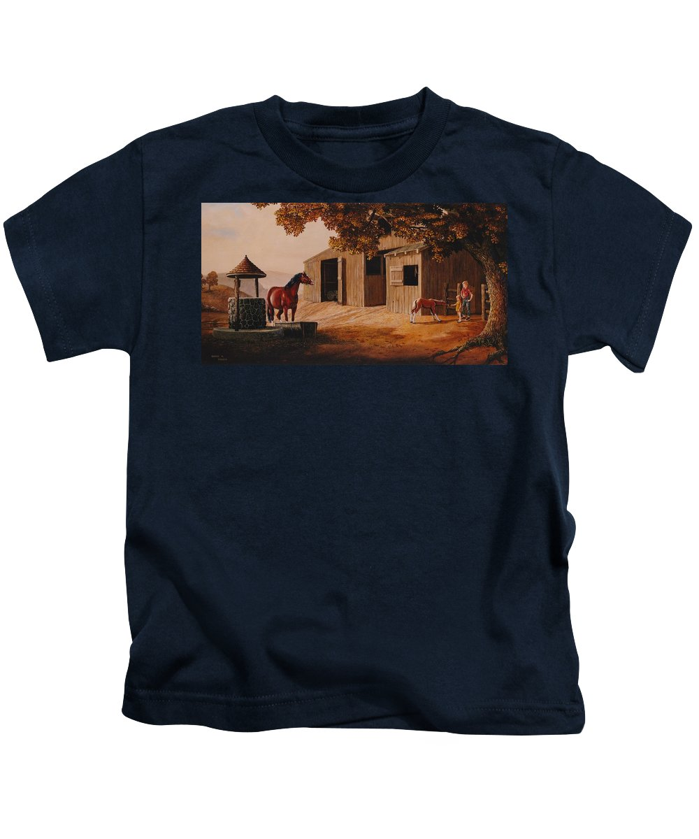 Farm Kids T-Shirt featuring the painting First Meeting by Duane R Probus