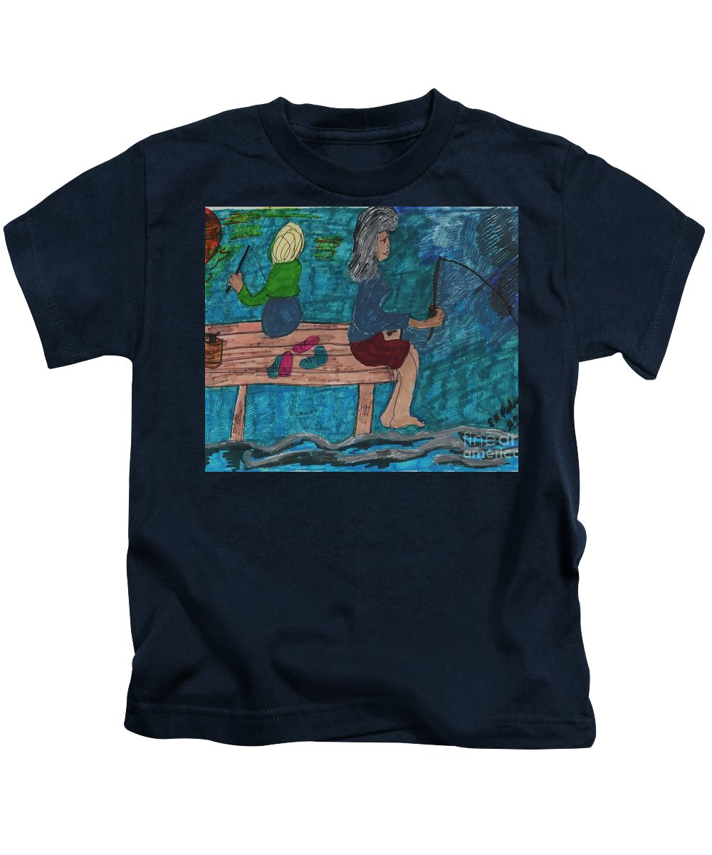 A Mother And A Daughter Fishing Kids T-Shirt featuring the mixed media Fishing Under The Evening Sky On A Cool Autumn Night by Elinor Helen Rakowski