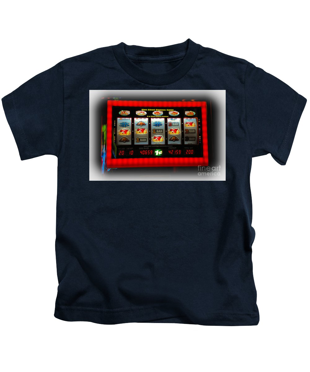 Flame Kids T-Shirt featuring the photograph Flaming Sevens Slots by Gary Keesler