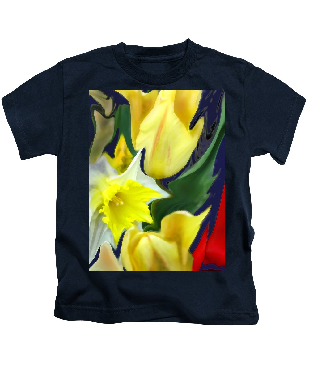 Abstract Kids T-Shirt featuring the digital art Floral Flow by Ian MacDonald