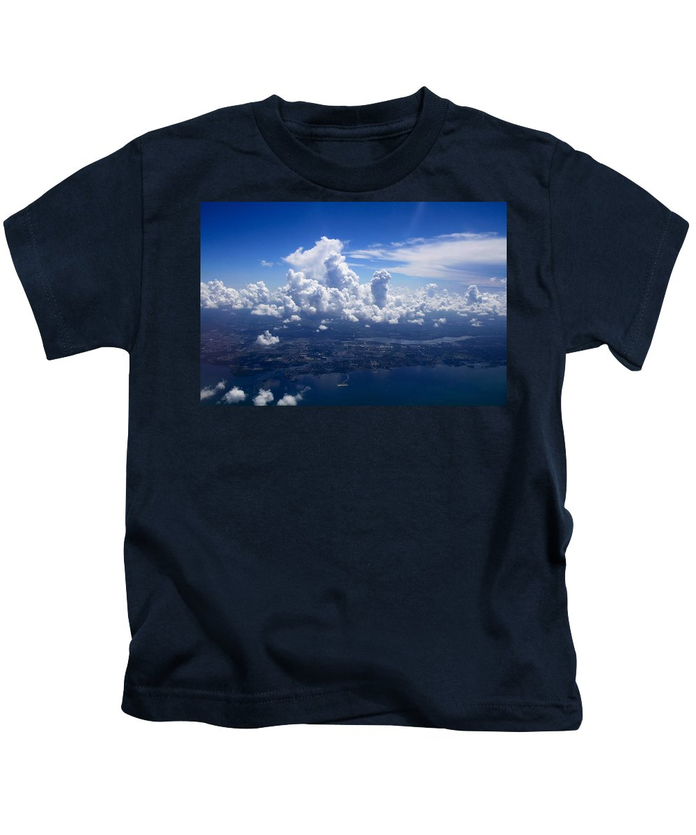 Blue Kids T-Shirt featuring the photograph Flying Over Clearwater by Lori Burrows