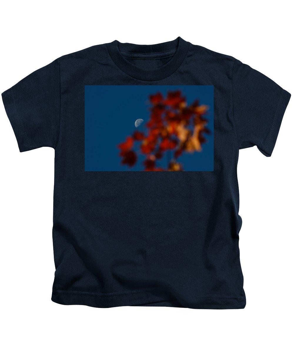 Moon Kids T-Shirt featuring the photograph Focused On The Autumn Moon by Georgia Mizuleva