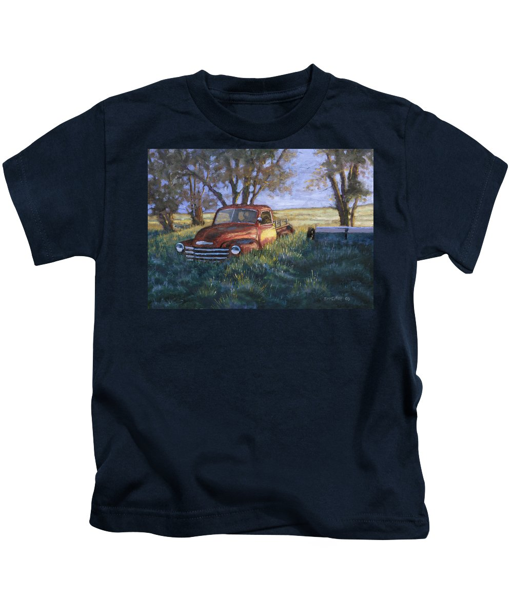 Pickup Truck Kids T-Shirt featuring the painting Forgotten But Still Good by Jerry McElroy