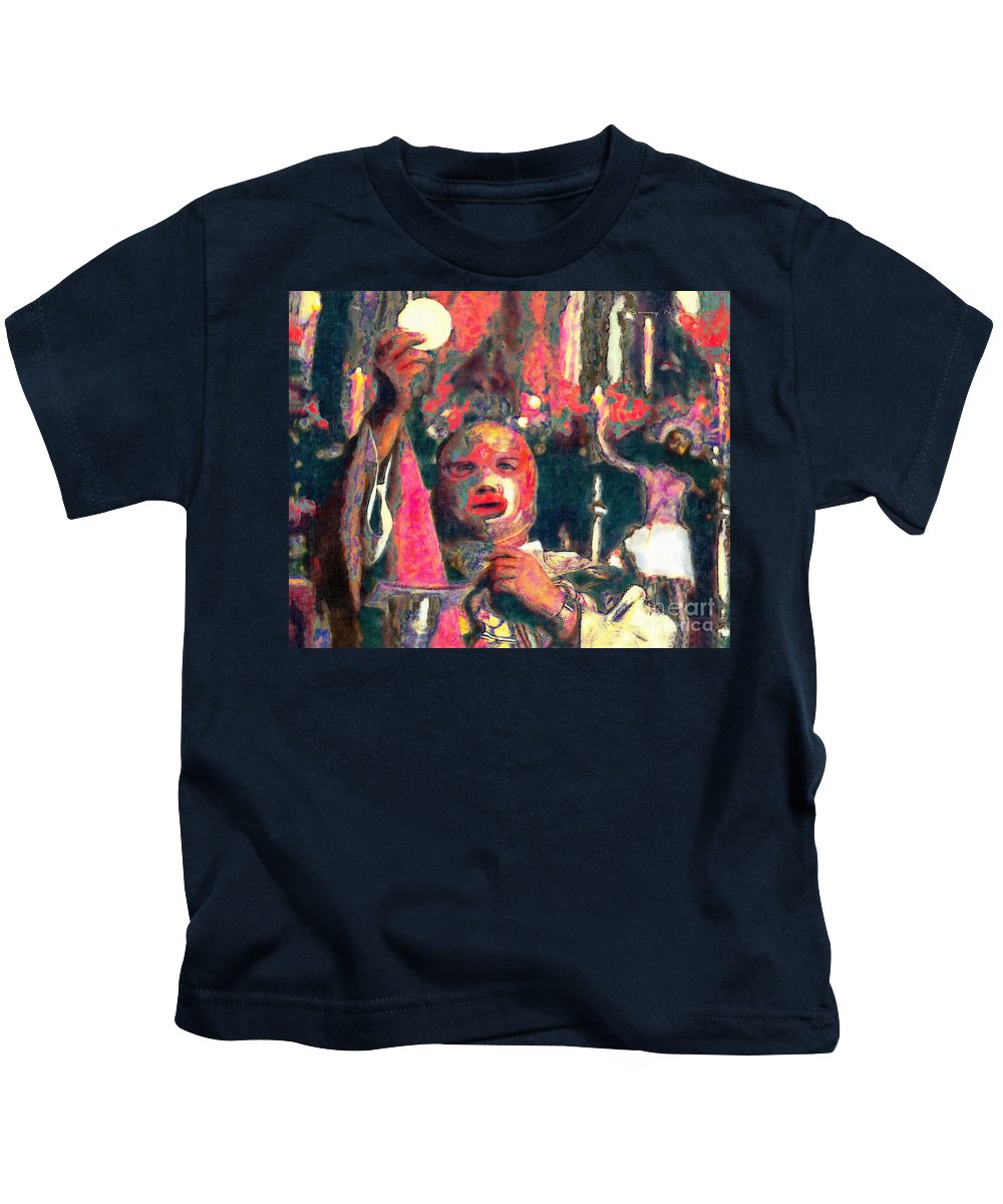 Religion Kids T-Shirt featuring the digital art Fray Tormenta by Nancy Almazan