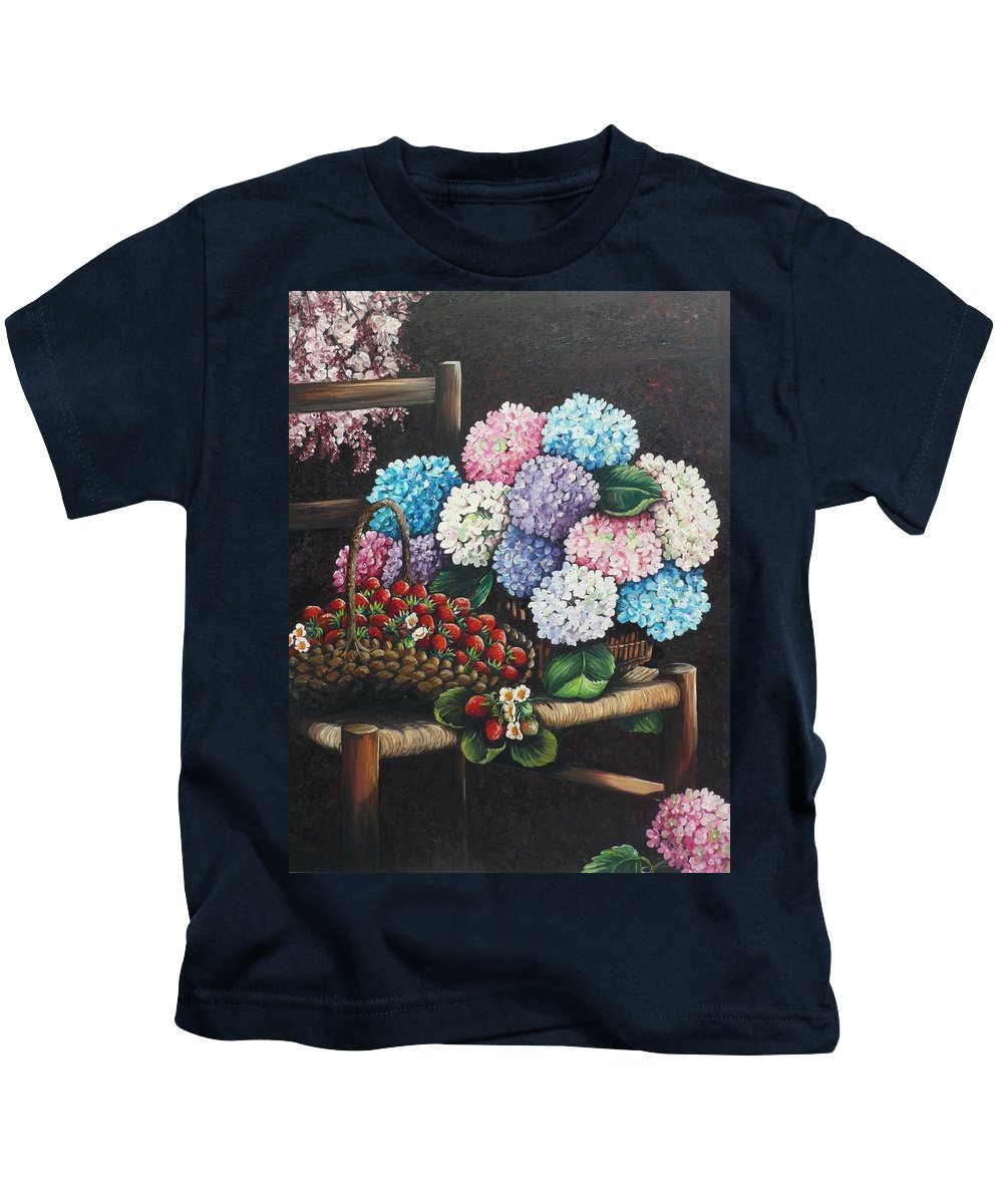 Hydrangea Paintings Floral Paintings Botanical Paintings Flower Paintings Blooms Hydrangeas Strawberries Paintings Red Paintings Basket Paintings Pink Paintings Garden Paintings  Blue Paintings  Greeting Card Paintings Canvas Paintings Poster Print Paintings  Kids T-Shirt featuring the painting From My Garden by Karin Dawn Kelshall- Best