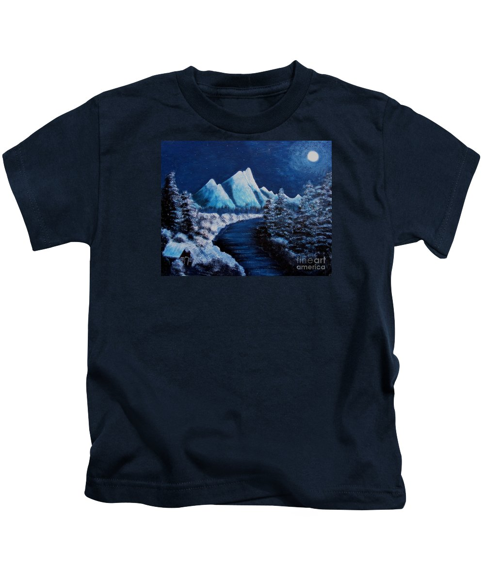 Barbara Griffin Kids T-Shirt featuring the painting Frosty Night In The Mountains by Barbara Griffin