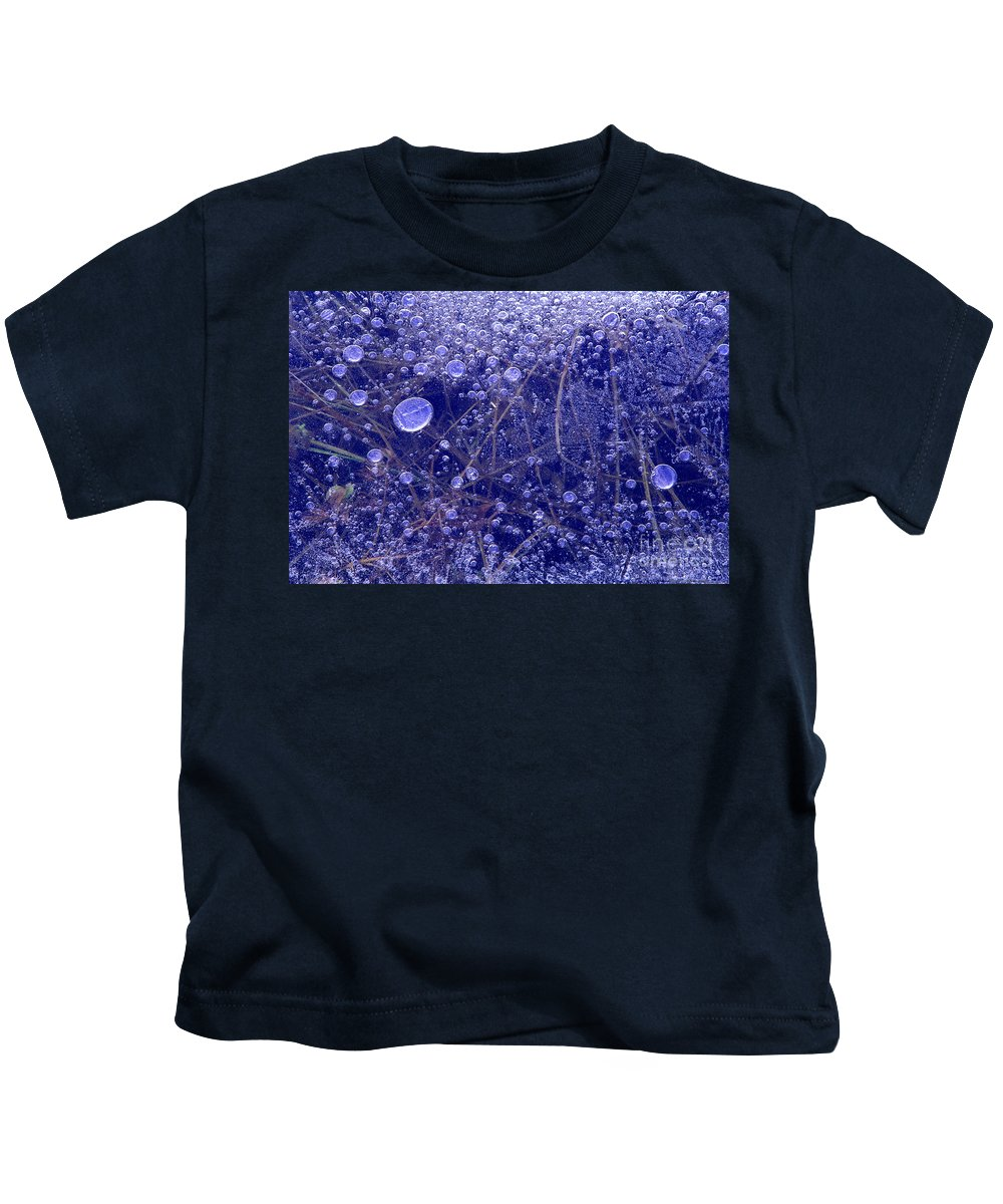 North America Kids T-Shirt featuring the photograph Frozen Bubbles In The Merced River Yellowstone Natioinal Park by Dave Welling
