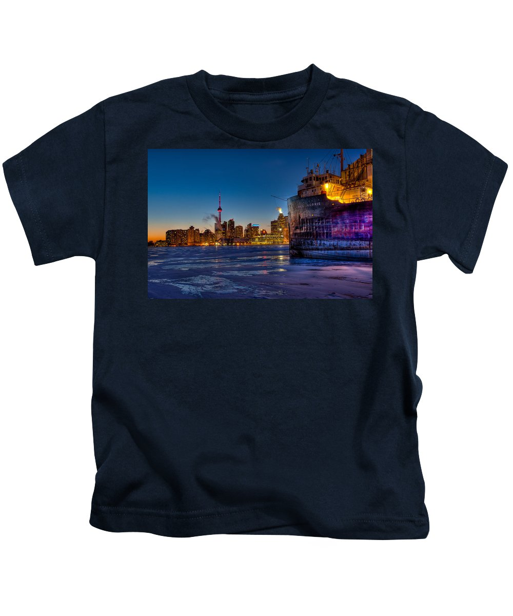 Adventure Kids T-Shirt featuring the photograph Frozen Skyline by Marcos Lins