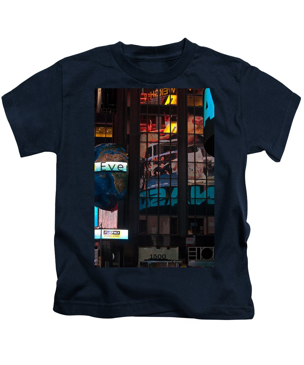 """new York City"" Kids T-Shirt featuring the photograph Full Color Reflections by Paul Mangold"