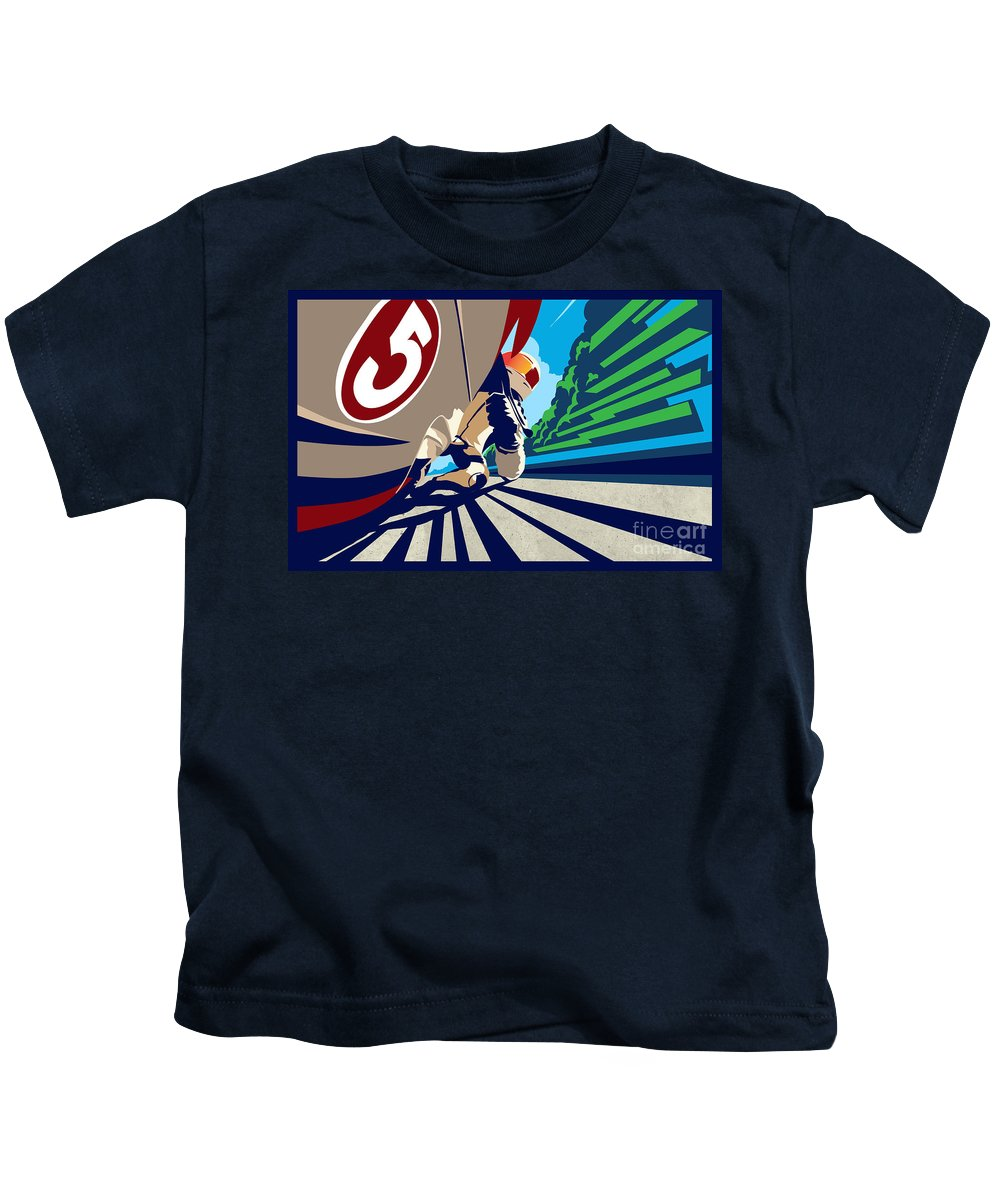 Motorcycle Kids T-Shirt featuring the painting Full Throttle by Sassan Filsoof