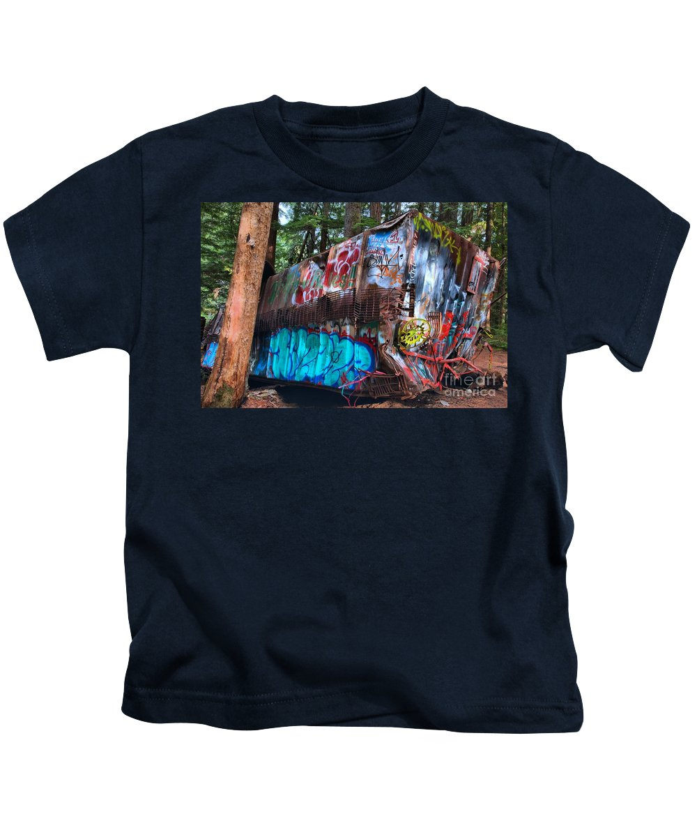 Train Wreck Kids T-Shirt featuring the photograph Gaffiti In The Candian Forest by Adam Jewell