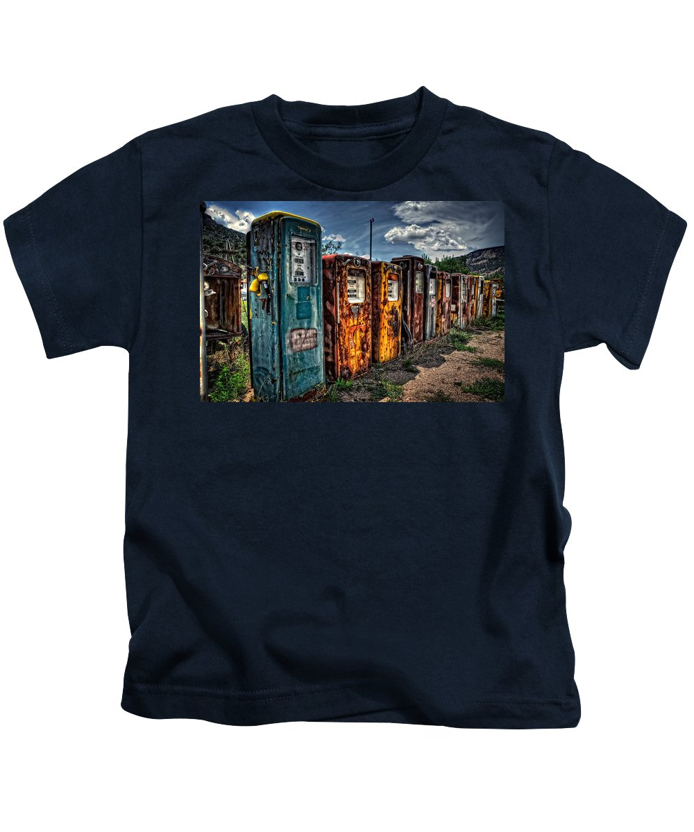 Vintage Gas Pumps Kids T-Shirt featuring the photograph Gasoline Alley by Ken Smith