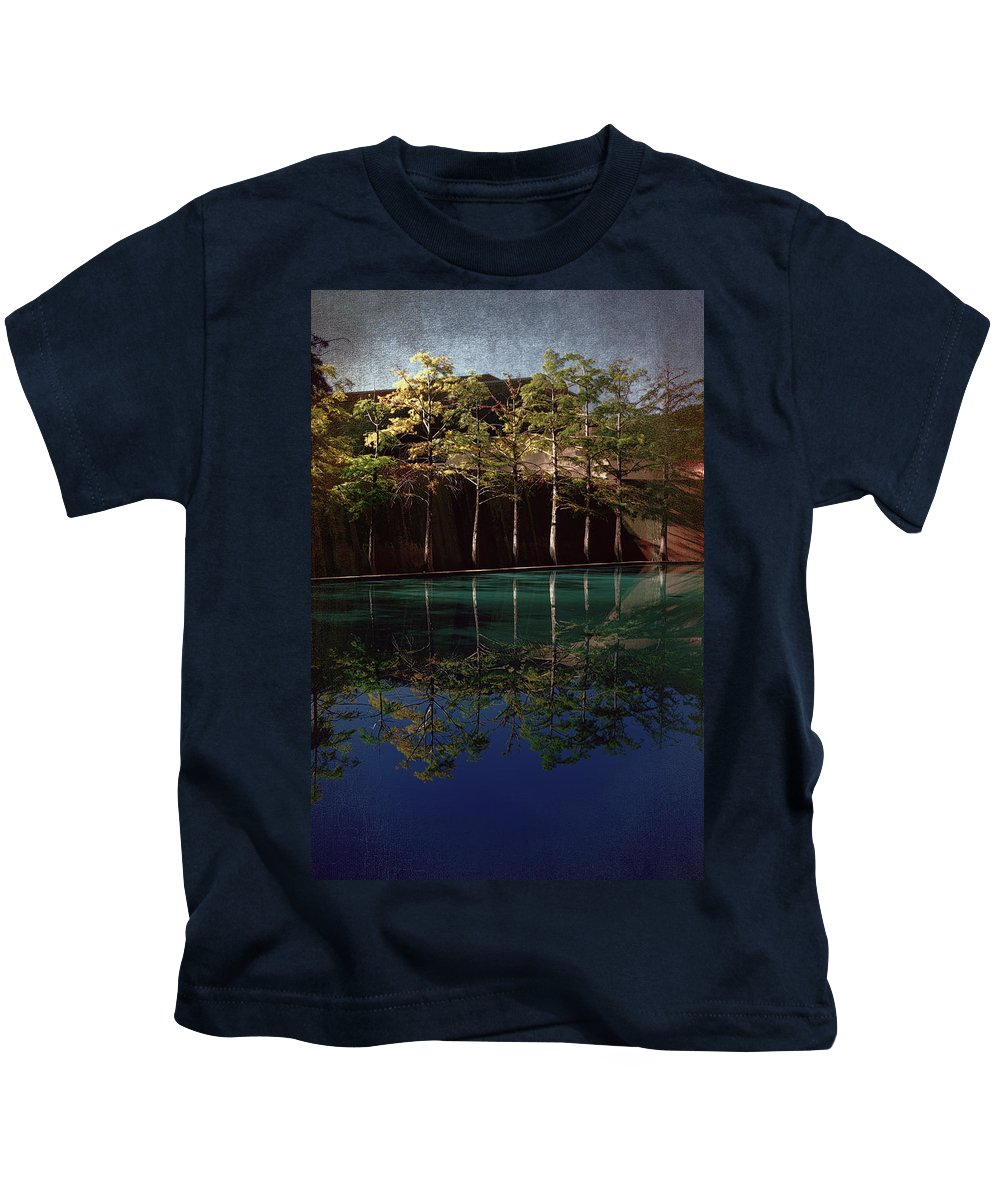 Water Garden Kids T-Shirt featuring the photograph Ghostly Quiet by Joan Carroll