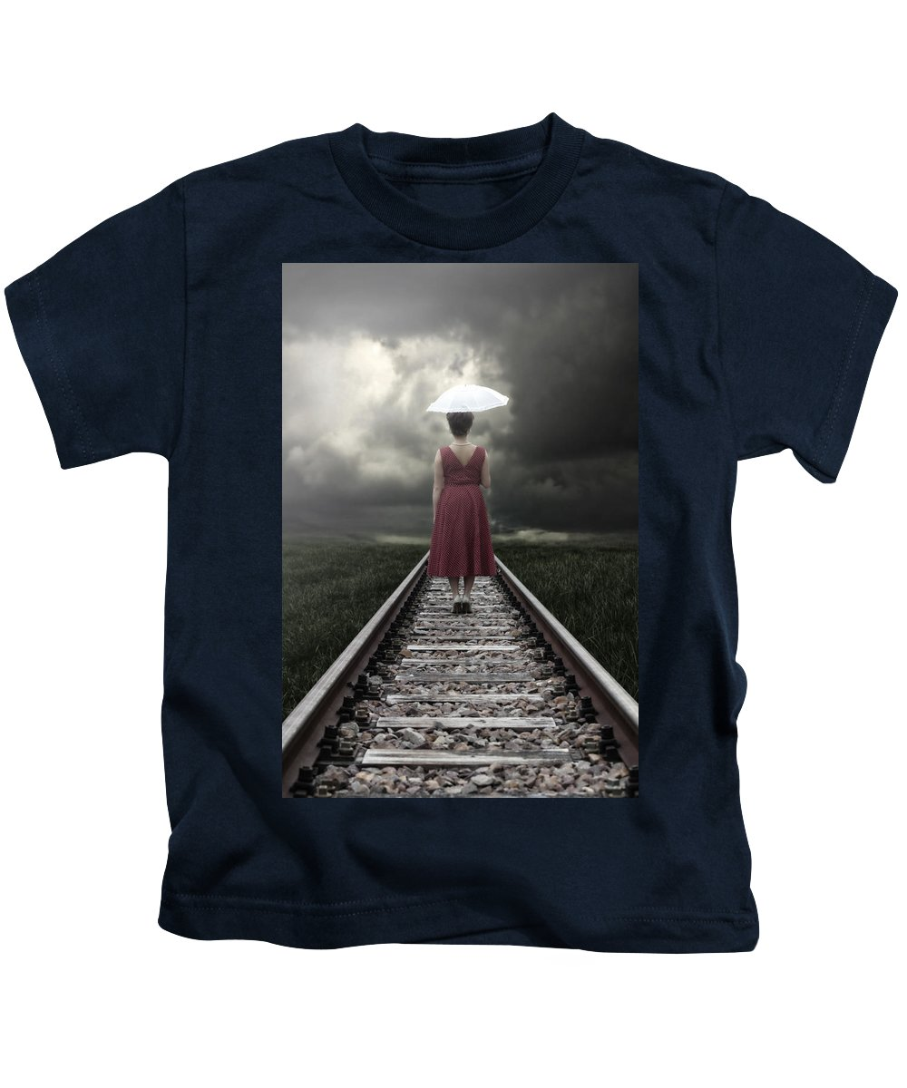 Woman Kids T-Shirt featuring the photograph Girl On Tracks by Joana Kruse