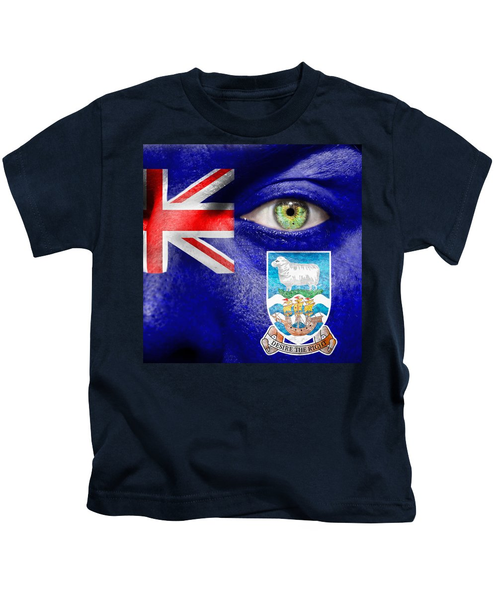 Blue Kids T-Shirt featuring the photograph Go Falkland Islands by Semmick Photo