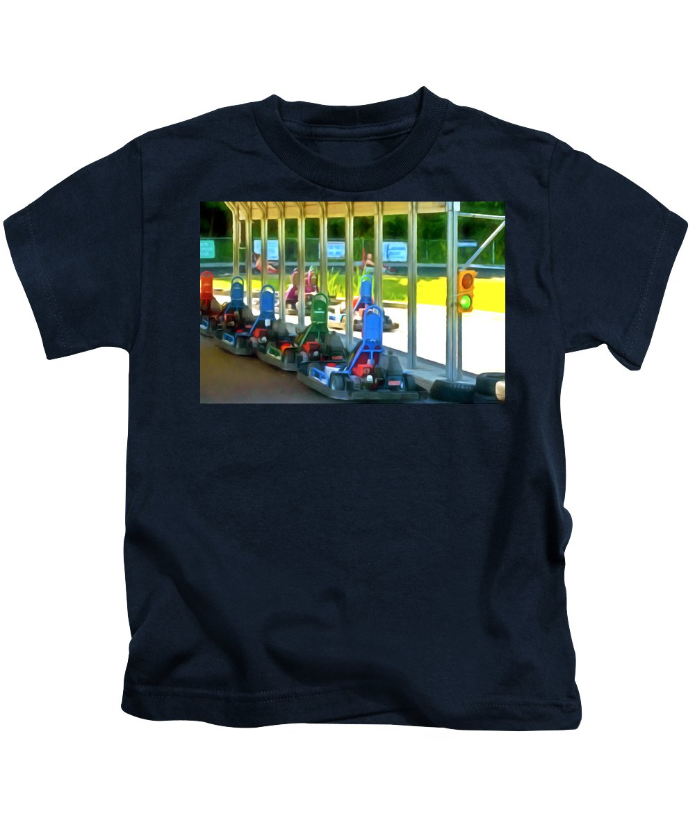 Go-karts Kids T-Shirt featuring the painting Go-karts by Jeelan Clark