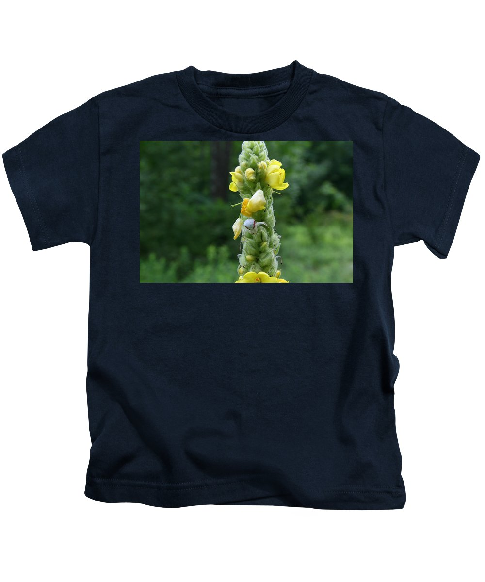 Spider Art Kids T-Shirt featuring the photograph Goldenrod Crab Spider In Yellow by Neal Eslinger