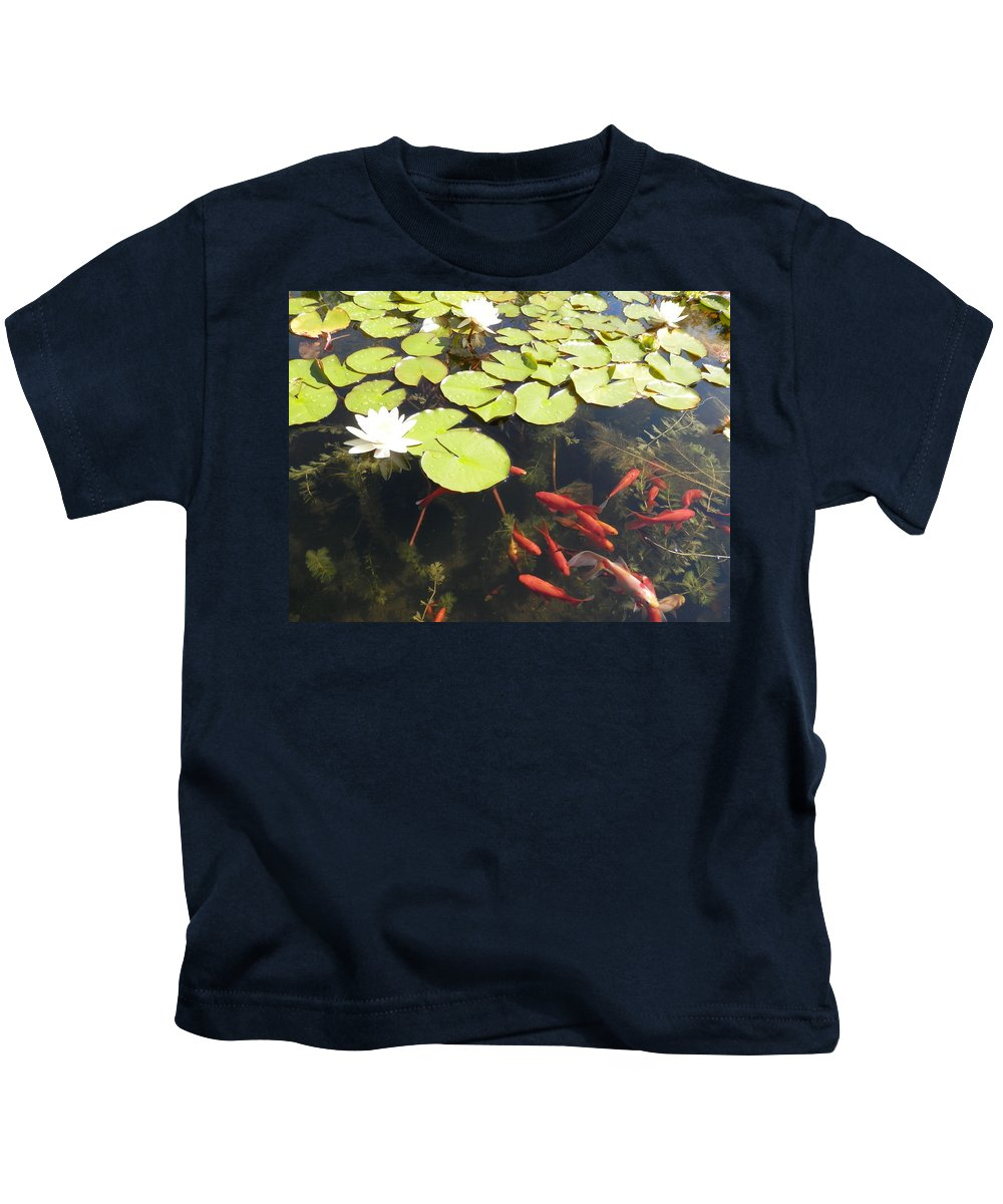 Gold Fish Kids T-Shirt featuring the photograph Goldfish And Water Lily 1 by Pema Hou