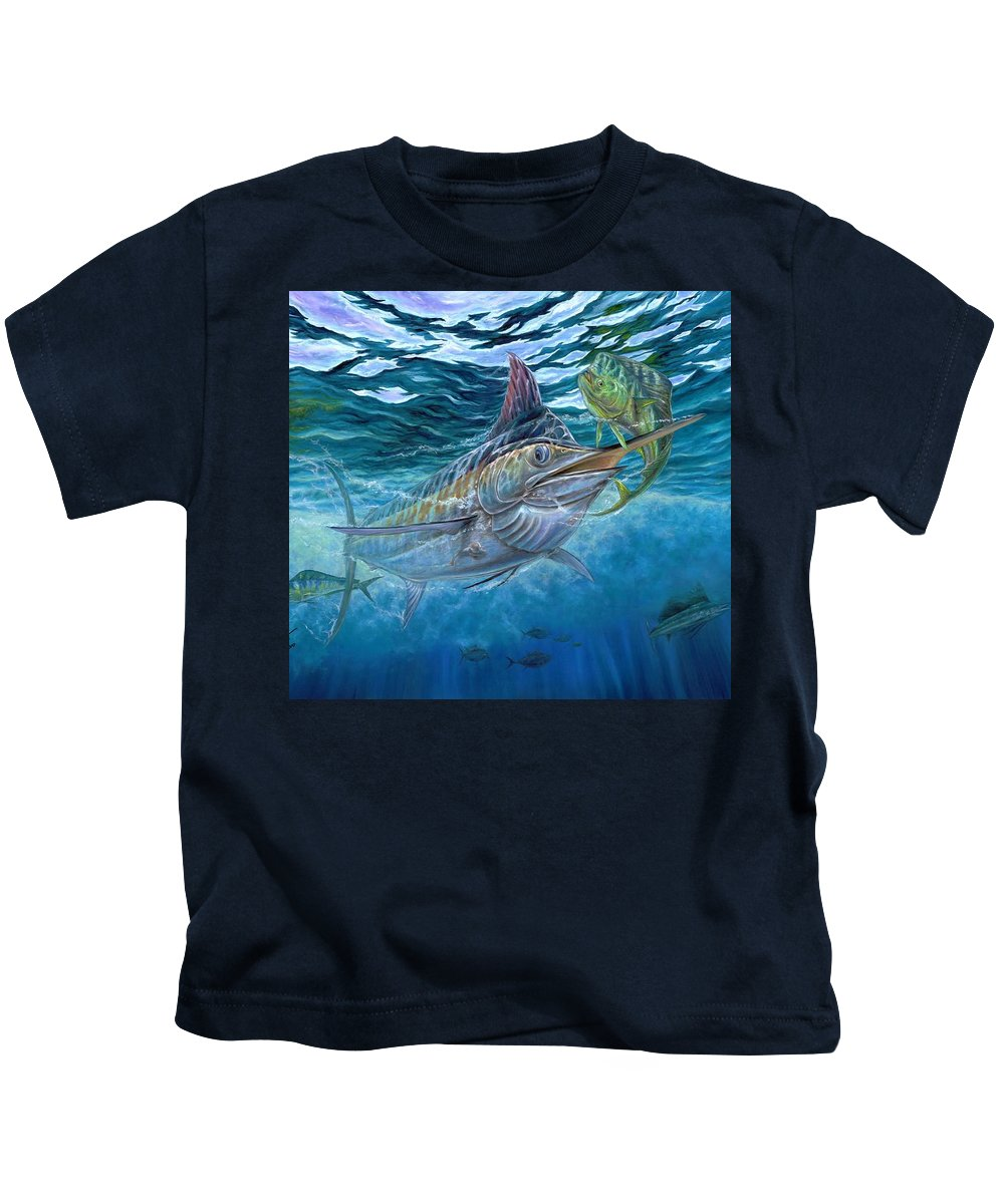 Blue Marlin Kids T-Shirt featuring the painting Great Blue And Mahi Mahi Underwater by Terry Fox