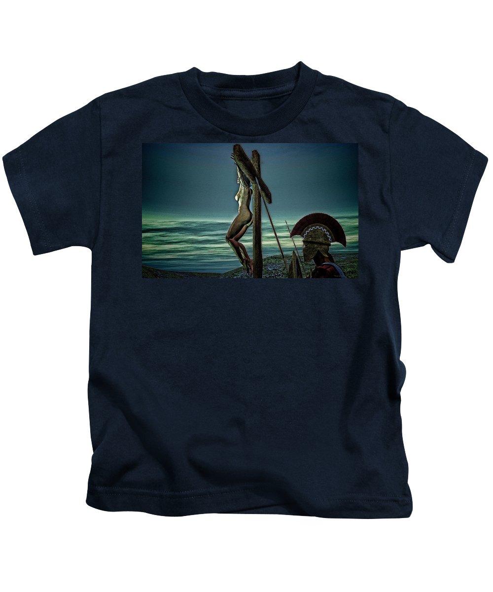 Crucifixion Kids T-Shirt featuring the digital art Greek Crucifixion Scene II by Ramon Martinez