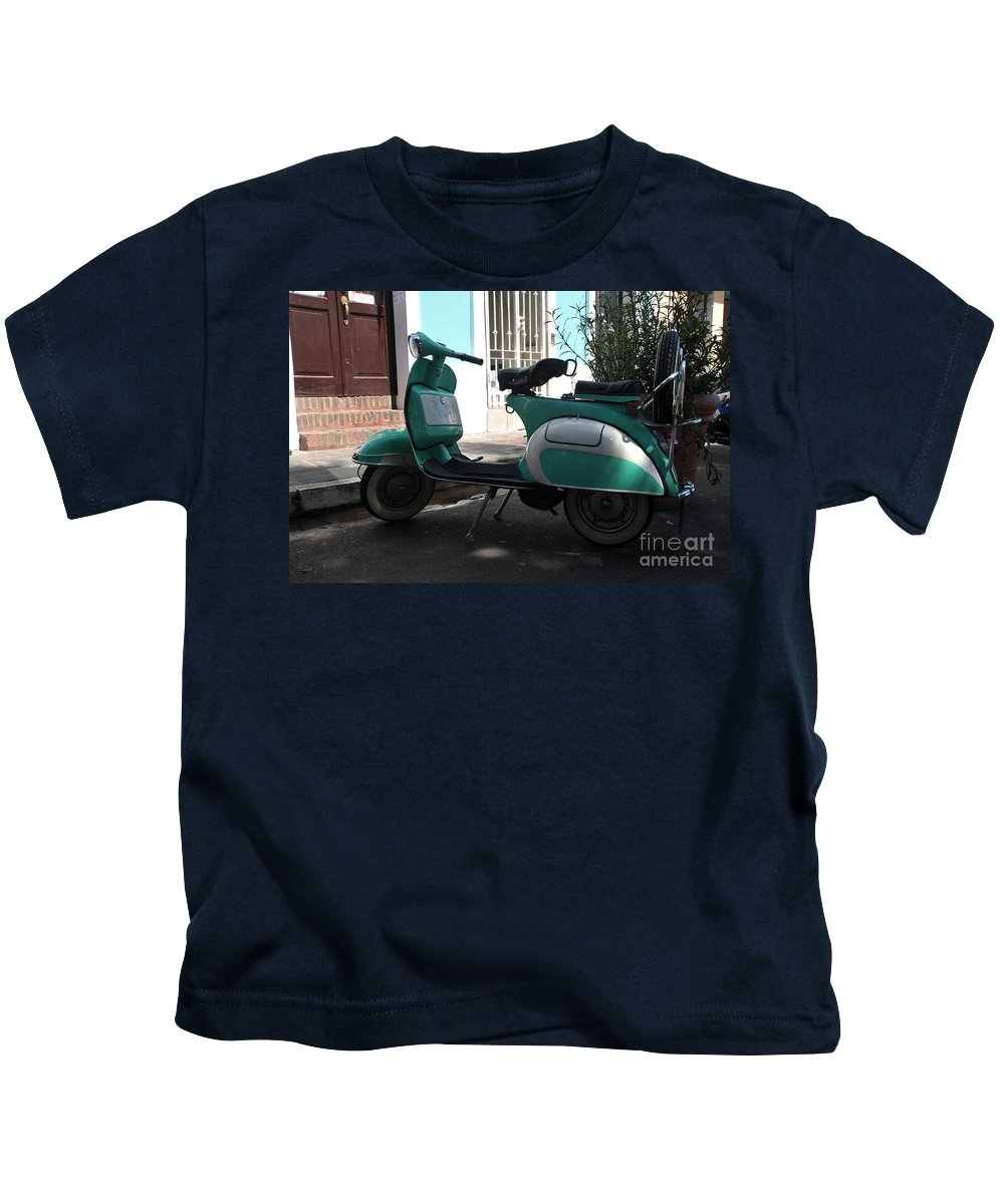 Vespa Kids T-Shirt featuring the photograph Green Vespa by Jorge Erick Ramos