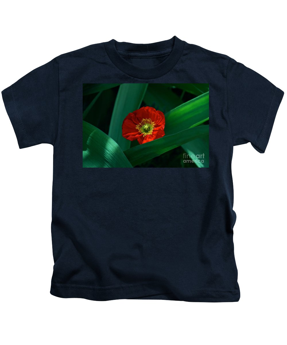 Red Poppy And Long Bright Green Leaves Kids T-Shirt featuring the photograph Green Loves Red Loves Green by Byron Varvarigos