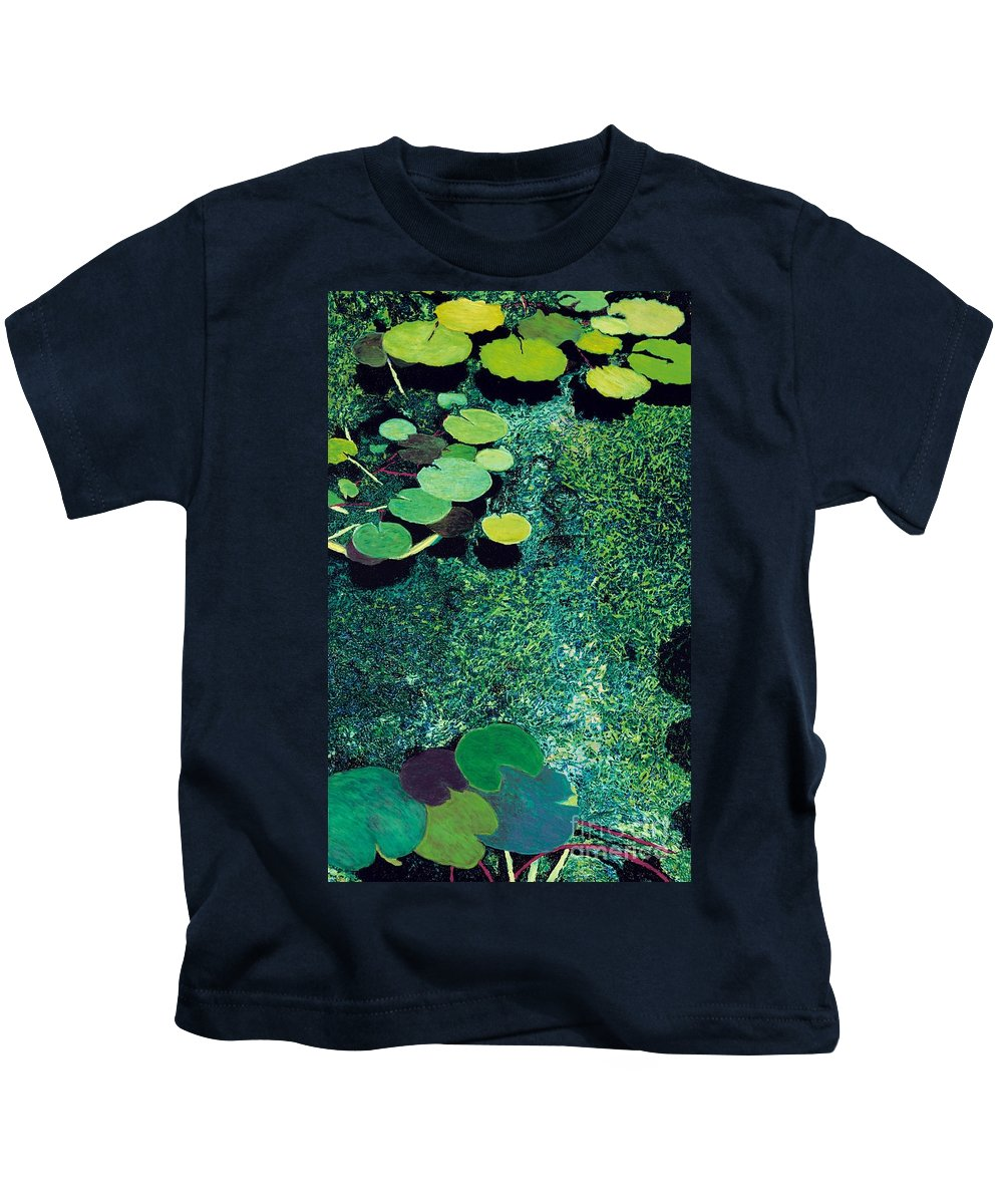 Landscape Kids T-Shirt featuring the painting Green Shimmering Pond by Allan P Friedlander