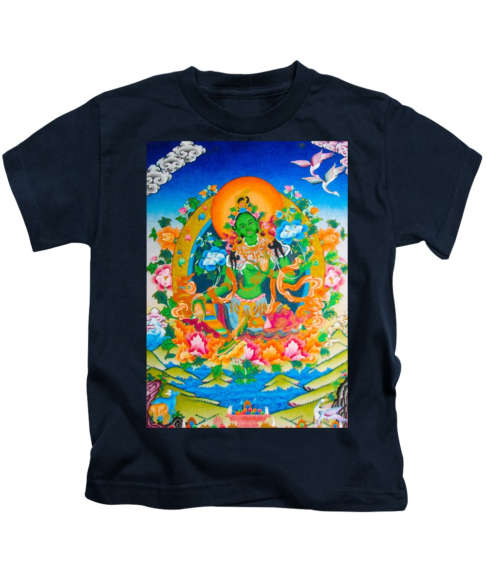 Green Tara Kids T-Shirt featuring the photograph Green Tara 12 by Jeelan Clark